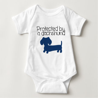 Protected by a Dachshund (blue) Shirts