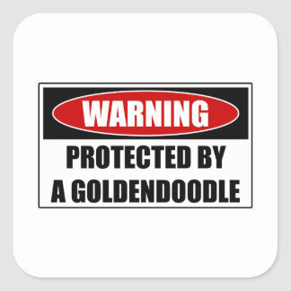 Protected By A Goldendoodle Square Sticker