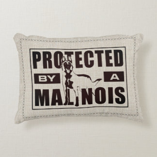 Protected by a Malinois - Belgian shepherd Decorative Pillow