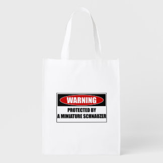 Protected By A Miniature Schnauzer Reusable Grocery Bag