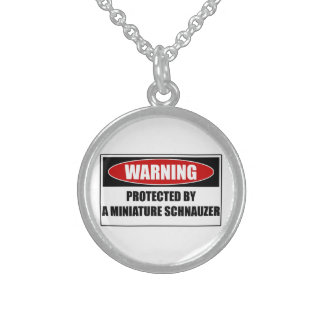 Protected By A Miniature Schnauzer Sterling Silver Necklace