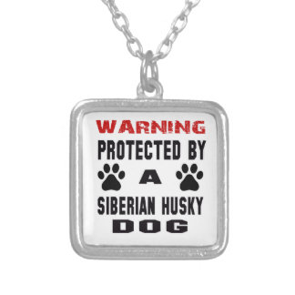 Protected By A Siberian Husky Dog Square Pendant Necklace