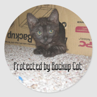 Protected by Backup Cat Round Sticker