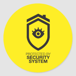 Protected by Security system Round Sticker