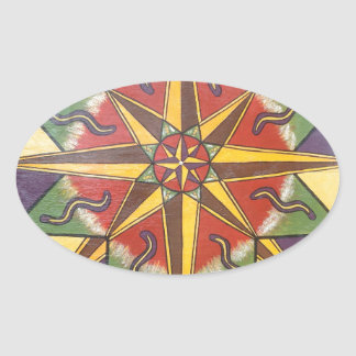 Protection Star Mandala Oval Sticker
