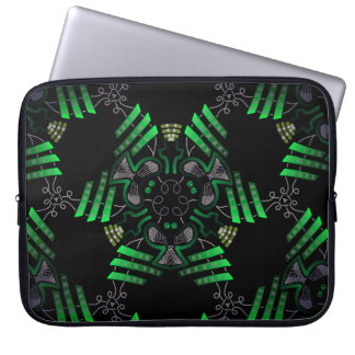 Protective small pocket for green and gray laptop sleeve