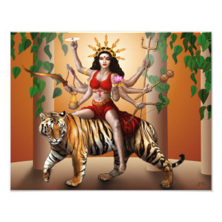 "Protector Goddess Durga Print, 14"" x 11"" Photo"