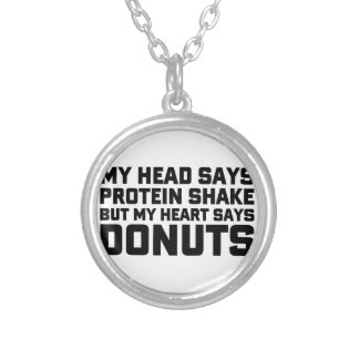 Protein Shake or Donuts Silver Plated Necklace