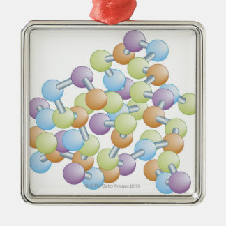 Protein Synthesis Silver-Colored Square Ornament