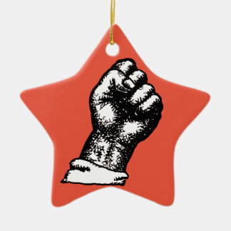 protest fist ceramic ornament