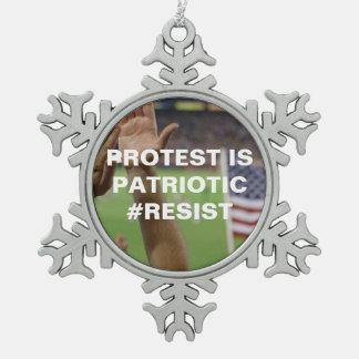 Protest is Patriotic Resist Flag Snowflake Snowflake Pewter Christmas Ornament