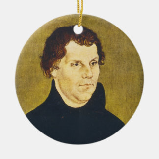Protestant Reformist Martin Luther by L. Cranach Double-Sided Ceramic Round Christmas Ornament