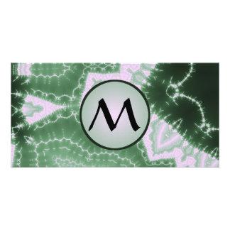 Protozoa - fractal art with monogram on grey photo greeting card