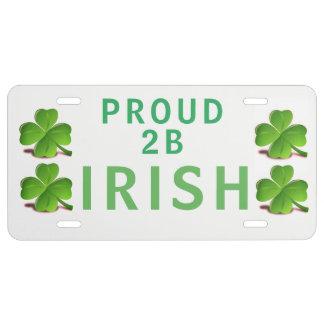 Proud 2 B Irish - License Plate