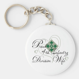 Proud 4th Infantry Wife Heart Keychain