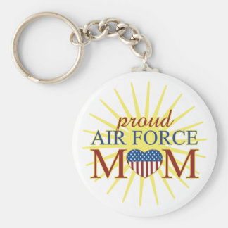 Proud Air Force Mom Basic Round Button Keychain