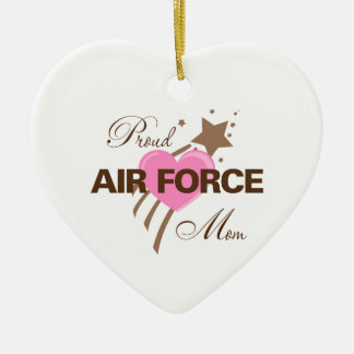 Proud Air Force Mom Heart Ceramic Heart Ornament