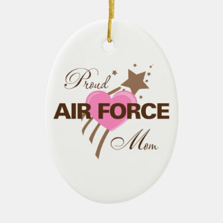 Proud Air Force Mom Heart Ceramic Oval Ornament
