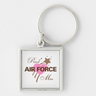 Proud Air Force Mom Heart Silver-Colored Square Keychain