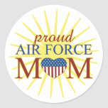 Proud Air Force Mom Round Sticker