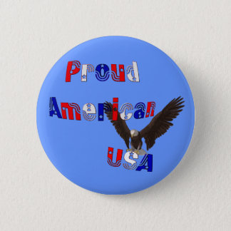 Proud American Eagle USA Patriotic Button