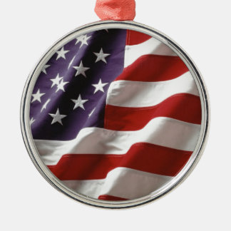 Proud and Patriotic USA Flag Silver-Colored Round Ornament