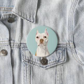 """Proud and Tall"" White Pit Bull Dog Portrait 3 Inch Round Button"