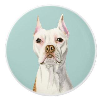 """Proud and Tall"" White Pit Bull Dog Portrait Ceramic Knob"