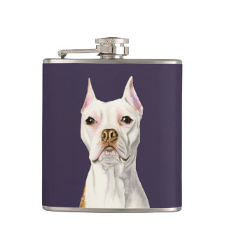 """""""Proud and Tall"""" White Pit Bull Dog Portrait Hip Flask"""