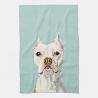 """Proud and Tall"" White Pit Bull Dog Portrait Kitchen Towel"