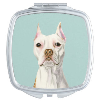 """""""Proud and Tall"""" White Pit Bull Dog Portrait Mirrors For Makeup"""