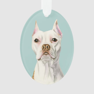 """""""Proud and Tall"""" White Pit Bull Dog Portrait Ornament"""