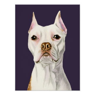 """""""Proud and Tall"""" White Pit Bull Dog Portrait Poster"""