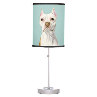 """Proud and Tall"" White Pit Bull Dog Portrait Table Lamp"