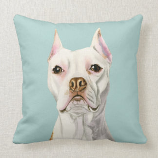 """""""Proud and Tall"""" White Pit Bull Dog Portrait Throw Pillow"""