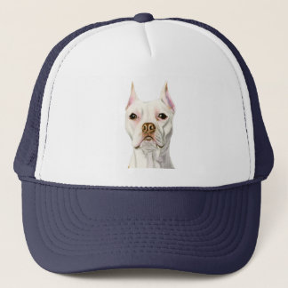 """""""Proud and Tall"""" White Pit Bull Dog Portrait Trucker Hat"""
