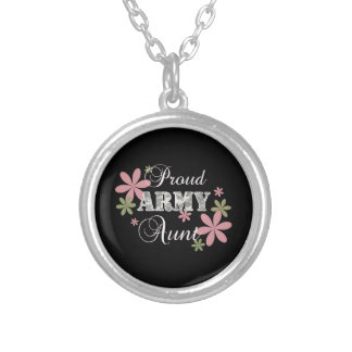Proud Army Aunt [fl c] Silver Plated Necklace