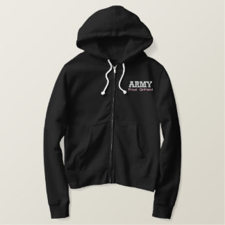Proud Army Girlfriend Embroidered Hoodie