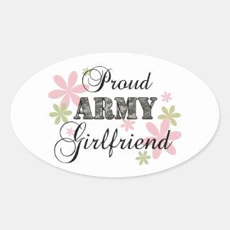Proud Army Girlfriend [fl c] Oval Sticker