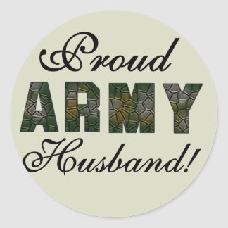 Proud Army Husband Tshirts and Gifts Round Sticker