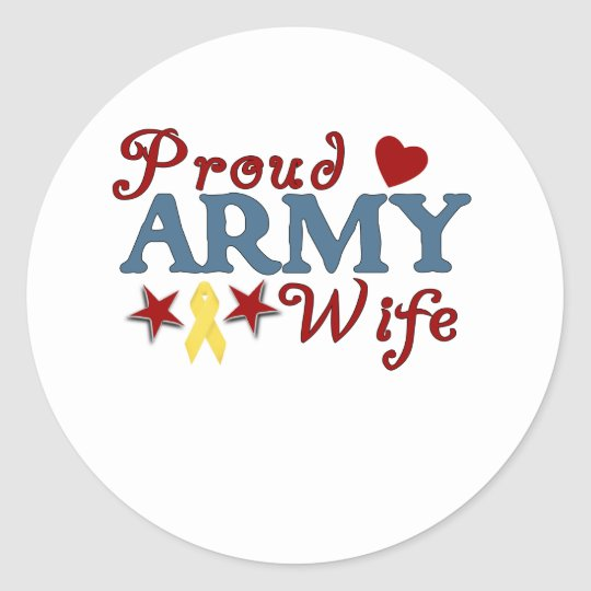 Proud Army Wife Collage Classic Round Sticker