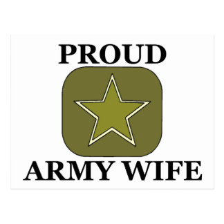 Proud Army Wife Green Star Postcard