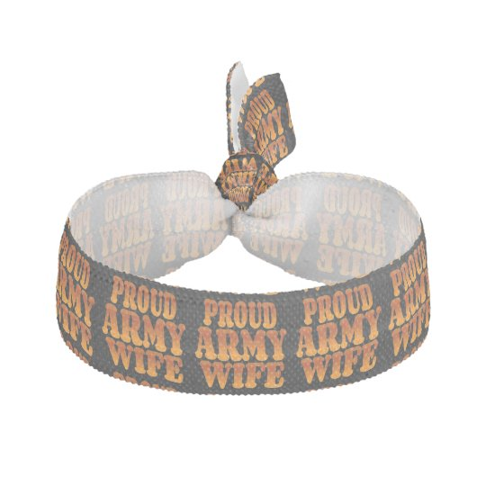 Proud Army Wife in Gold Ribbon Hair Ties