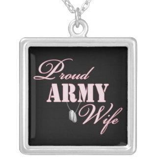Proud Army Wife Silver Plated Necklace