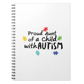 Proud Aunt Autism Awareness Puzzle Ribbon Gift Notebook