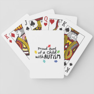 Proud Aunt Autism Awareness Puzzle Ribbon Gift Playing Cards