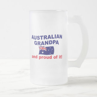 Proud Australian Grandpa 16 Oz Frosted Glass Beer Mug