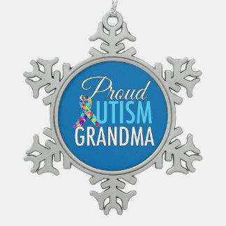 Proud Autism Grandma Snowflake Pewter Christmas Ornament