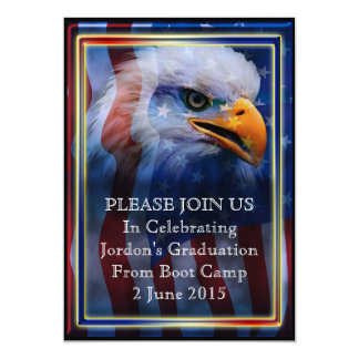 Proud Bald Eagle Boot camp Graduation Personalized Invite