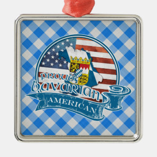 Proud Bavarian American Metal Decoration Silver-Colored Square Ornament